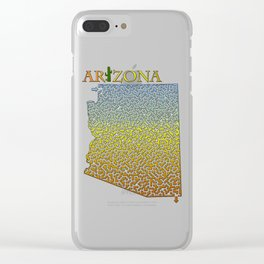 Arizona State Outline Desert Themed Maze & Labyrinth Clear iPhone Case