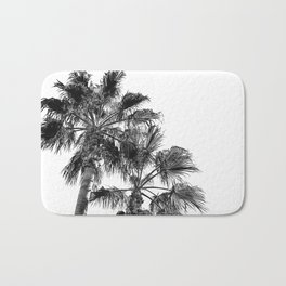 B&W Palm Tree Print | Black and White Summer Sky Beach Surfing Photography Art Bath Mat