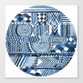 Circle Pattern Blue Canvas Print