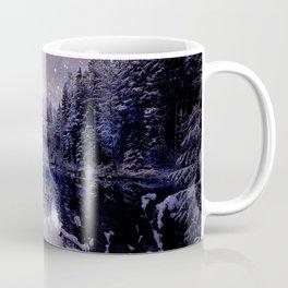 A Cold Winter's Night Neutral Beige Navy Blue Coffee Mug