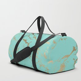 Modern teal gold marble pattern Duffle Bag