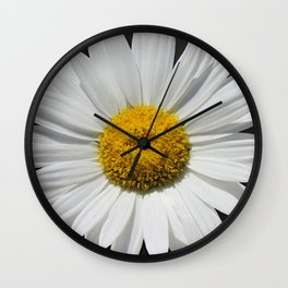 Contemporary White Daisy on Grey Pop Of Yellow Art A490 Wall Clock