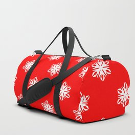 red with white snow flakes pattern Duffle Bag
