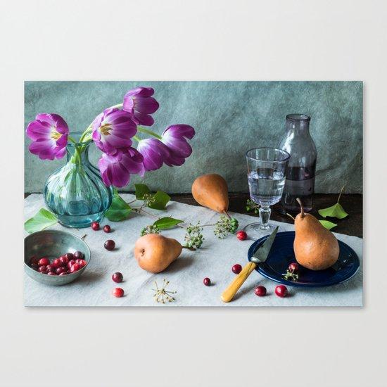 Still Life with Purple Tulips Canvas Print