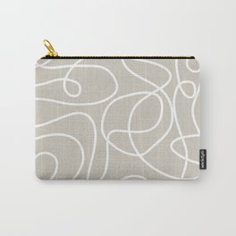 Doodle Line Art | White Lines on Warm Gray Carry-All Pouch