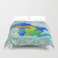 michigan Duvet Covers featuring Michigan by Dusty Goods