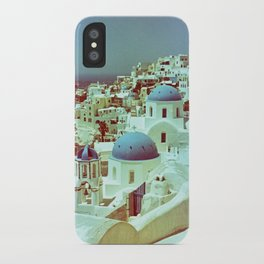 Santorini in Raspberry and Blue: shot using Revolog 600nm special effects film iPhone Case