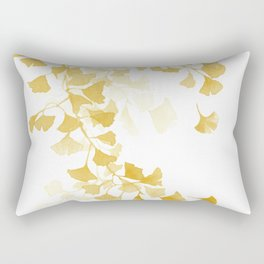 Yellow Ginkgo Leaves Watercolor Painting Rectangular Pillow