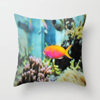 the life aquatic Throw Pillows featuring Life Aquatic by JustAlly