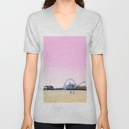 Santa Monica Pier with Ferries Wheel and Roller Coaster Against a Pink Sky Unisex V-Neck