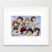 studio ghibli Framed Art Prints featuring Studio Ghibli Girls by Art of Nym