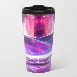 Purple Nebula Space Beams Travel Mug