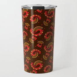 Red and Gold Peacock Paisley Pattern Travel Mug