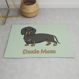 Cute Black Tan Dachshund Dog Doxie Mom Rug