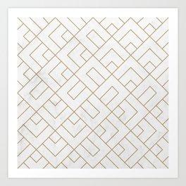 Golden Marble Square Floor Pattern Art Print