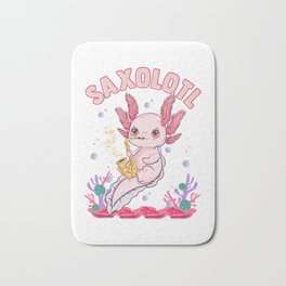 Cute Saxolotl Adorable Sax Playing Axolotl Pun Bath Mat