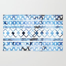 Watercolor creative black blush blue geometrical aztec Rug