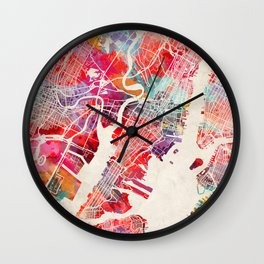 Jersey City map New Jersey painting 2 Wall Clock
