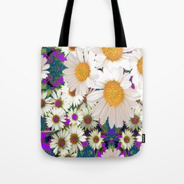 PURPLE-TEAL ACCENTS WHITE DAISIES GARDEN  ART Tote Bag