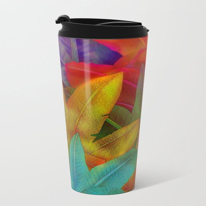 Exotic Leaf Pattern Metal Travel Mug