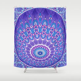 Indian Patterns Mandala Ball - Blue Pink White Shower Curtain