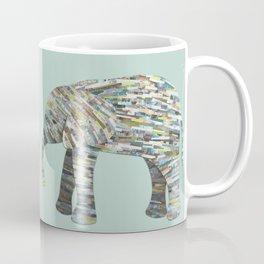 Elephant Paper Collage in Gray, Aqua and Seafoam Coffee Mug