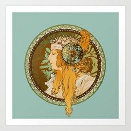 "Alphonse Mucha ""Byzantine Head: The Blonde"" edited Art Print"