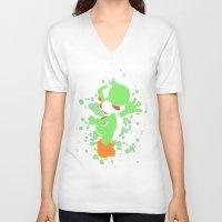 yoshi V-neck T-shirts featuring Yoshi by Emerald Bird