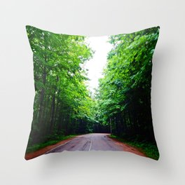 Winding Road in Forest Throw Pillow