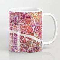 london Mugs featuring London  by MapMapMaps.Watercolors