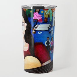Violeta Parra and her guitar Travel Mug