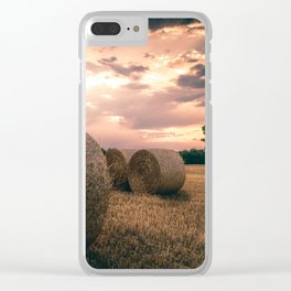 Hay Bales during a lovely sunet in Germany Clear iPhone Case
