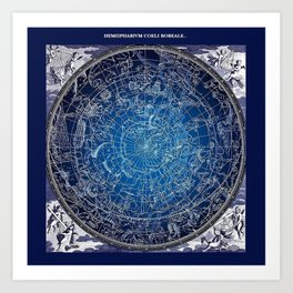 Vintage Celestial Constellations 17th Cenurty Star Map - Star Chart of the Constellations Art Print