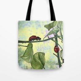Love bugs in the garden Tote Bag