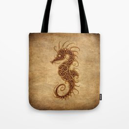 Aged Vintage Intricate Tribal Seahorse Design Tote Bag