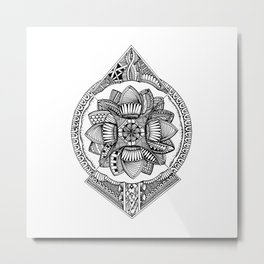 Abstract Mandala Drawing Metal Print