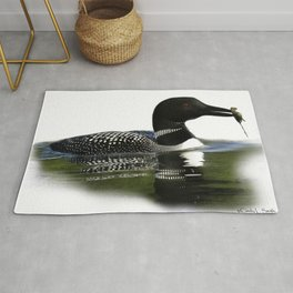 Northern Loon with Crayfish, Illustration Rug