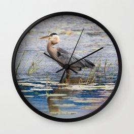 Heron wading Wall Clock