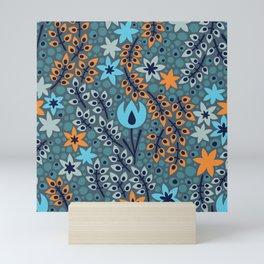 Azure Blue Woodland Floral Botanical Life Featuring Orange And White Flowers Mini Art Print