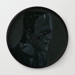 Frankenstein's monster on vinyl record print Wall Clock
