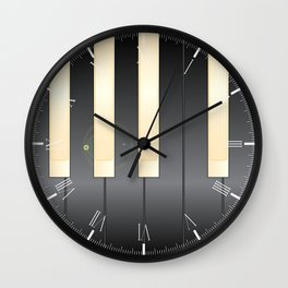 White And Black Piano Keys Wall Clock
