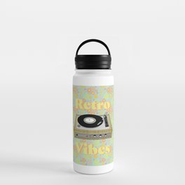 Retro Vibes Record Player Design in Yellow Water Bottle