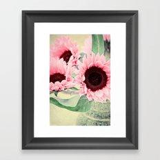 Pink Sunflowers Framed Art Print