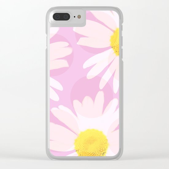 Flowers and dots on a pink background - lovely summery - #daisy #society6 #buyart Clear iPhone Case
