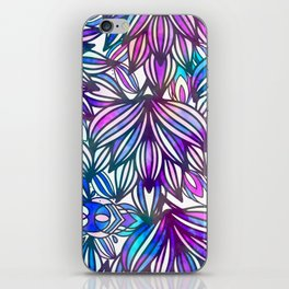Hand painted neon pink teal blue watercolor floral iPhone Skin