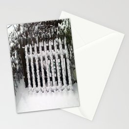 White snow picket fence  Stationery Cards