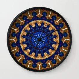 Royal Blue Gold Mandala Design Wall Clock