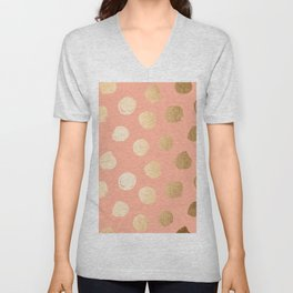 Sweet Life Polka Dots Peach Coral + Orange Sherbet Shimmer Unisex V-Neck