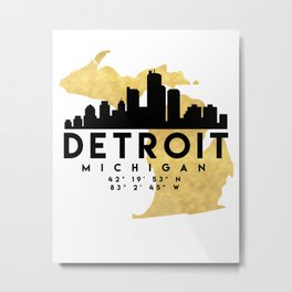DETROIT MICHIGAN SILHOUETTE SKYLINE MAP ART Metal Print
