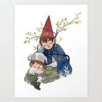 over the garden wall Art Prints featuring Over the garden wall by Rozenn